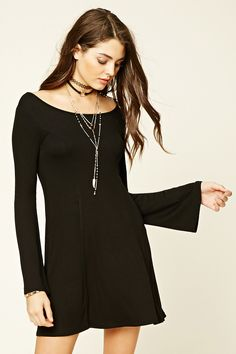 Forever 21 Bell-Sleeve Skater Dress $13 - Style Deals - A ribbed knit skater dress featuring a boat neckline and long bell sleeves.