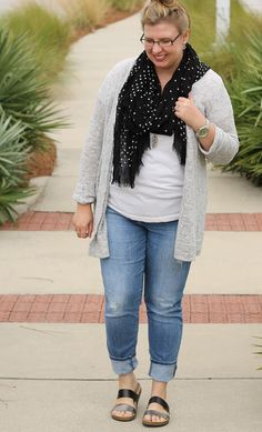 Cozy and casual in distressed denim and a white tee, grey marbled cardigan and black and white polka dot scarf.