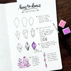 How to draw crystals by ig Bullet Journal 2020, Bullet Journal Notebook, Bullet Journal Aesthetic, Bullet Journal Ideas Pages, Bullet Journal Inspiration, Bullet Journal And Planner, Letras Cool, Crystal Drawing, Lettering Tutorial