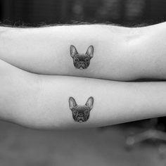 Fine line tattoo by Sanghyuk Ko. #SanghyukKo #bangbangnyc #newyork #fineline #singleneedle #pointillism #dog #frenchbulldog