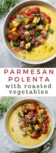 Parmesan Polenta with Roasted Vegetables dinner healthy vegetarian glutenfre. - healthy - Parmesan Polenta with Roasted Vegetables Tasty Vegetarian Recipes, Vegetarian Recipes Dinner, Veggie Recipes, Cooking Recipes, Easy Recipes, Chicken Recipes, Beef Recipes, Cooking Cake, Healthy Vegetarian Recipes