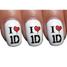 One Direction 'I Heart 1D' Logo Nail Art Transfer
