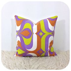 "#Handmade #1970s Vintage #Psychedelic Fabric Cushion Cover 16"" x 16"" £12.50"