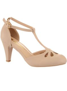 1930s cut out shoes. Take the Cake T-Strap Heels in Nude $44.00 AT vintagedancer.com