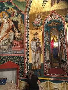 "Varvara"" - Brad, Fresca, by Catalin Balut Abraham And Sarah, Church Interior, Byzantine Icons, Orthodox Icons, Mural Painting, Scene, Angel, Architecture, Christianity"