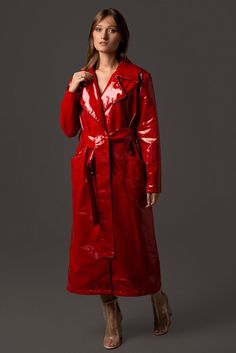 Excited to share this item from my shop: Ladies Stylish Vegan Leather Trench Coat. Waterproof and wind resistant. Patent Trench Coats, Red Trench Coat, Leather Trench Coat, Leather Jacket, Red Raincoat, Vinyl Raincoat, Plastic Raincoat, Costumes For Sale, Vinyls