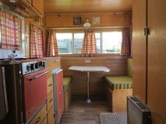 Vintage 1967 Red Dale Travel Trailer 14' box - sharp!! in RVs & Campers | eBay Motors love the colors. Love the stripes on the side of dinette cushions.