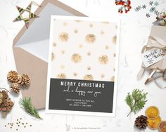 Printable Modern Gold Christmas Card - Holiday Card - 5 x7 - Do it yourself Customizable Printable Christmas Card by TheSpringRabbit on Etsy