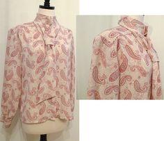Paisley Long Sleeved Shirt Med to Large, Ascot Dress Top BibbysRocket, $26.00