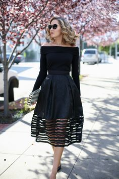 Cut-out Midi Skirt and Off-The-Shoulder Top - MEMORANDUM, formerly The Classy Cubicle - MEMORANDUM, formerly The Classy Cubicle // Powered by chloédigital