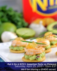 HOW TO PARTICIPATE in the Put It On A RITZ® Snack Party. REFRESH to find new pins, COMMENT on pins to chat with us, REPIN to save your favorite finds! LOOK for the SECRET CODE! WATCH for the BIG announcement at the end of the chat. Garlic Sriracha Shrimp Topped Crackers photo via @ericasrecipes. AD