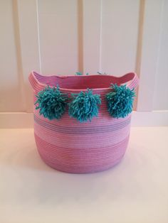 Extra Large Purple PomPom Basket by PrairieStMercantile on Etsy