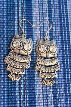 Filigree Owl Dangle Earrings by BleuhouseCrafts on Etsy, $15.00