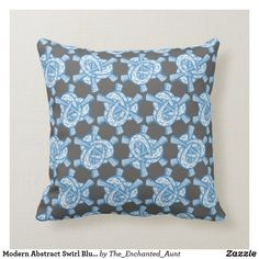 Modern Abstract Swirl Blue Pattern Pillow.  #bluehome #decoratingwithblue #bluedecor #throwpillows #homedecor #pillows #throwpillowsforbed #eleganthomes #pillowpattern