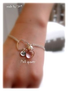 Items similar to Sweet Valentine - Personalized initial disc ,pink quarzt , pearl sterling silver Bracelet - Custom initial and stone on Etsy
