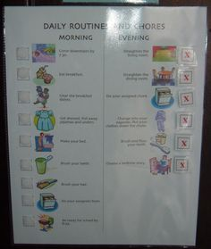 Here is a routine chart for morning and evening that uses Velcro to make it more interactive for children, but also reusable. Daily Routine Chart For Kids, Charts For Kids, Family Command Center, Flylady, Grilling Gifts, Lol, How To Make Bed, Parenting Hacks, Clean House