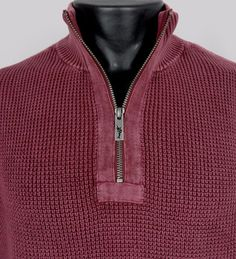 NWT TOMMY BAHAMA Mens L Half Zip Knit Sweater Coastal Shores Red Pigment Dyed LS #TommyBahama #12Zip