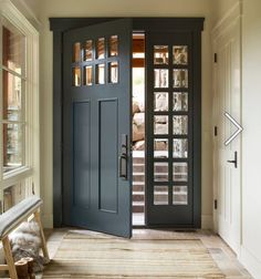 We love the look of a colorful front door to welcome guests into our home. Perhaps our front door is like our home's jewelry adding a little sparkle to the curb appeal. Painting your front door is one of the… Continue Reading → Exterior Doors, Entry Doors, Front Entry, Home Front Door, Rustic Front Doors, Farmhouse Front Doors, Dark Front Door, Entrance Foyer, Exterior Paint