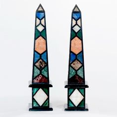 PAIR OF ITALIAN SPECIMEN MARBLE INLAID OBELISKS - Dim : 40 1/2 inches high.