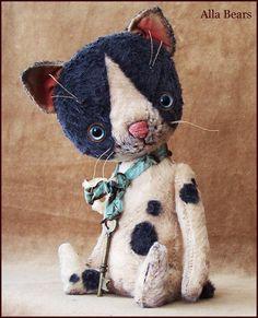 "Alla Bears 8.5"" inch Cat original artist ooak Vintage collectible handmade toy baby art doll boy Whimsical Victorian Antique stuffed decor"
