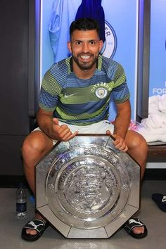 Sergio Aguero with the Community Shield 2018. He scored his 201st goal for City during the game! #legend 💙