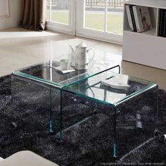 tables basse rectangulaire 2 plateaux en verre structure en ... - Axe Design Meuble