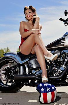 American Made Vintage Motorcycle Pinup Rockabilly Style Rockabilly Rebel Biker Chick