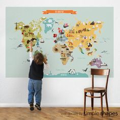 Everyone knows I'm a map junkie! this one is fantastic! World Map Peel and Stick Repositionable Fabric by SimpleShapes, $39.00