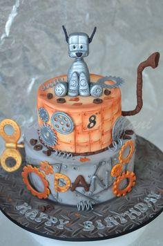 Steampunk kids cake (via global sugar art) 3rd Birthday Cakes, Dog Birthday, Birthday Ideas, Steampunk Kids, Robot Cake, Global Sugar Art, Fondant, Dog Cakes, Novelty Cakes