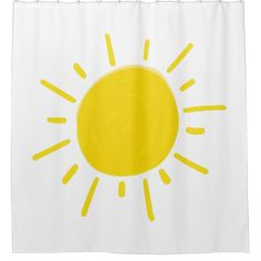 Sunshine Painted Whimsical Yellow Sun Shower Curtain Zazzle Com Yellow Sun Shower Gifts Diy Whimsical