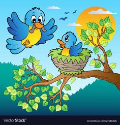 Illustration about Two blue birds with tree branch - vector illustration. Illustration of illustration, bird, birds - 22763086 Art Drawings For Kids, Bird Drawings, Drawing For Kids, Painting For Kids, Cartoon Drawings, Easy Drawings, Cartoon Trees, Cartoon Birds, Branch Vector