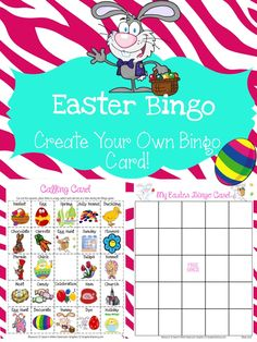FREE EASTER BINGO - This FREEBIE includes 24 Easter related images and 1 Bingo card TEMPLATE to be used by students to CREATE THEIR OWN Bingo card (create their own luck).