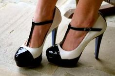 Black and white Mary Jane heels