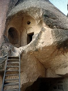 Turkish Cave House. It would be great on heating & cooling. It's just not my style. If it were, I would climb the rickety ladder to look inside.