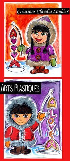 Projet d'arts plastiques pour l'hiver et la St-Valentin. Pour les 3e année et plus. Vous aurez besoin de crayon de bois noir, de gouache en pain, d'une craie à tableau et de fusain. Le fusain n'est pas obligatoire. Démarche avec photo ainsi que grille d'évaluation incluse. Bonne pêche ! Art Education Lessons, Art Lessons, Arts And Crafts, Paper Crafts, Inuit Art, Ecole Art, Art Lesson Plans, Art Plastique, Classroom Activities