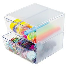 deflect-o® Desk Cube, with Four Drawers, Clear Plastic, 6 x 7-1/8 x 6