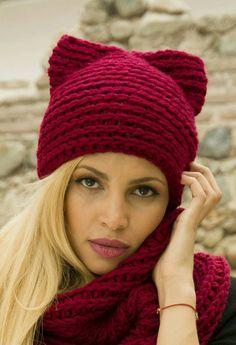 Coño  sombrero de gato rojo Hat  gorro rojo gato  por AvarusCrochet