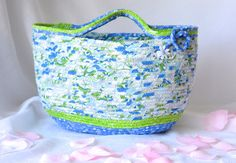 I handmade this pretty blue laptop tote bag, Handmade by me.... Made in MA USA!!! Lovely Blue Knitting Basket, Handmade Coiled Fabric Basket by WexfordTreasures