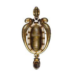 Gold Enamel broche egyptian style 1863 london