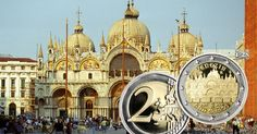 The Italian Mint(Istituto Polografica e Zecca dello Stato or IPZS for short) has now released the fi Saint Mark's Basilica, Commemorative Coins, Barcelona Cathedral, Taj Mahal, Saints, Building, Buildings, Construction