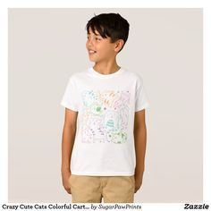 Crazy Cute Cats Colorful Cartoon Pattern Gift T-Shirt for Kids by SugarPawPrints on Zazzle