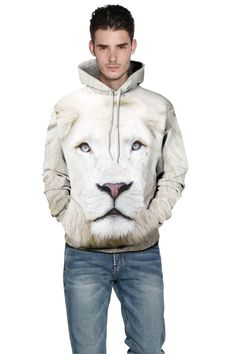 Printed hoodies for men with 3D white lion starry hooded sweatshirt – menlivestyle Printed Sweatshirts, Hooded Sweatshirts, Skull Hoodie, European Fashion, European Style, White Hoodie, Swagg, Female Models, Pullover