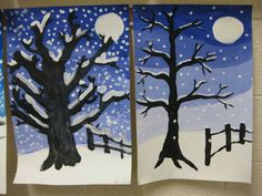 Art in elementary school: winter landscape – Wallpaper Ideas Winter Art Projects, Winter Project, Winter Trees, Winter Fun, Snowy Trees, Winter Activities, Art Activities, 6th Grade Art, Theme Noel