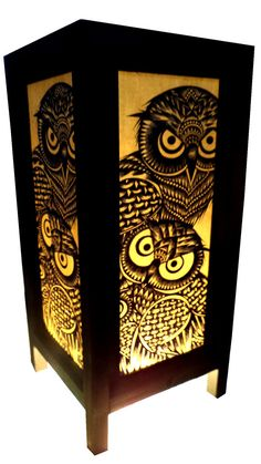 Made to order 5x11 inch  owl art  Asian oriental paper handmade table lamp on Etsy, $16.92 CAD