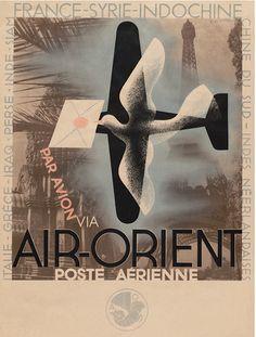 By Adolphe Mouron Cassandre (1901-1968), 1932, Air-Orient Poste aérienne.