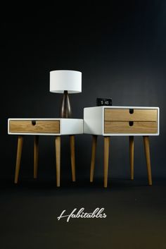 White nightstand / Bedside Table, Scandinavian Mid-Century Modern Retro Style with 1 or 2 drawers and legs made of oak wood - RETRO FURNITURE Wood Furniture, Modern Furniture, Furniture Design, White Nightstand, Bedside Drawers, Corian, Furniture Inspiration, Wood Table, Mid-century Modern