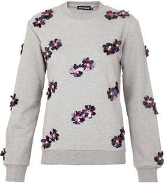 House Of Holland Gray Sequin Flower Sweater
