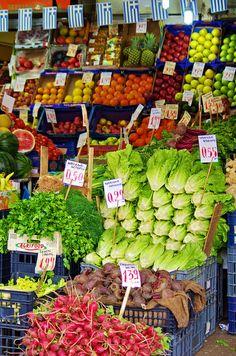 Greek Fresh Produce-Athens, Greece - Athènes,le marché couvert rue Evripidou Greece