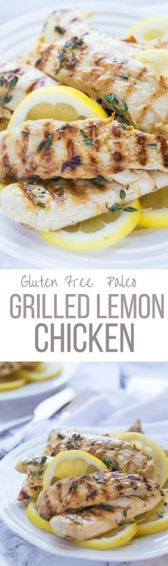 Fabulous Grilled Paleo Lemon Chicken & Thyme, only 192 calories per serving! it's bursting with fresh herbs & garlic flavors! It's healthy, whole30 & gluten free and low carb | noshtastic.com