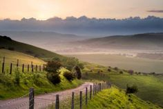 English countryside landscape over rolling hills.